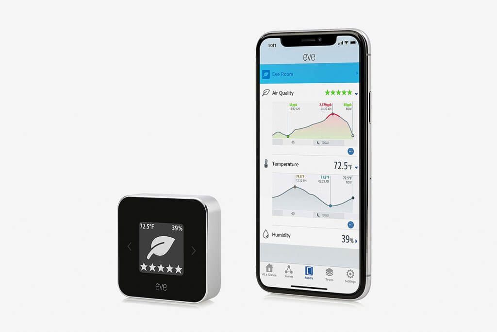 Eve Room Indoor Air Quality Monitor and smartphone app
