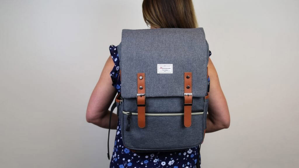 Modaker Vintage Laptop Backpack worn by woman