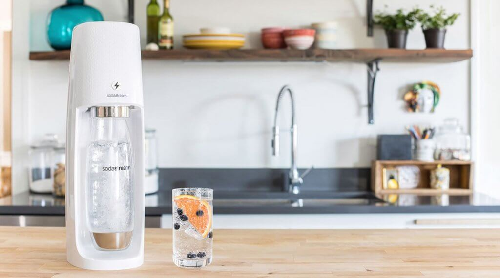 SodaStream Fizzi Sparkling Water Maker Bundle in the kitchen