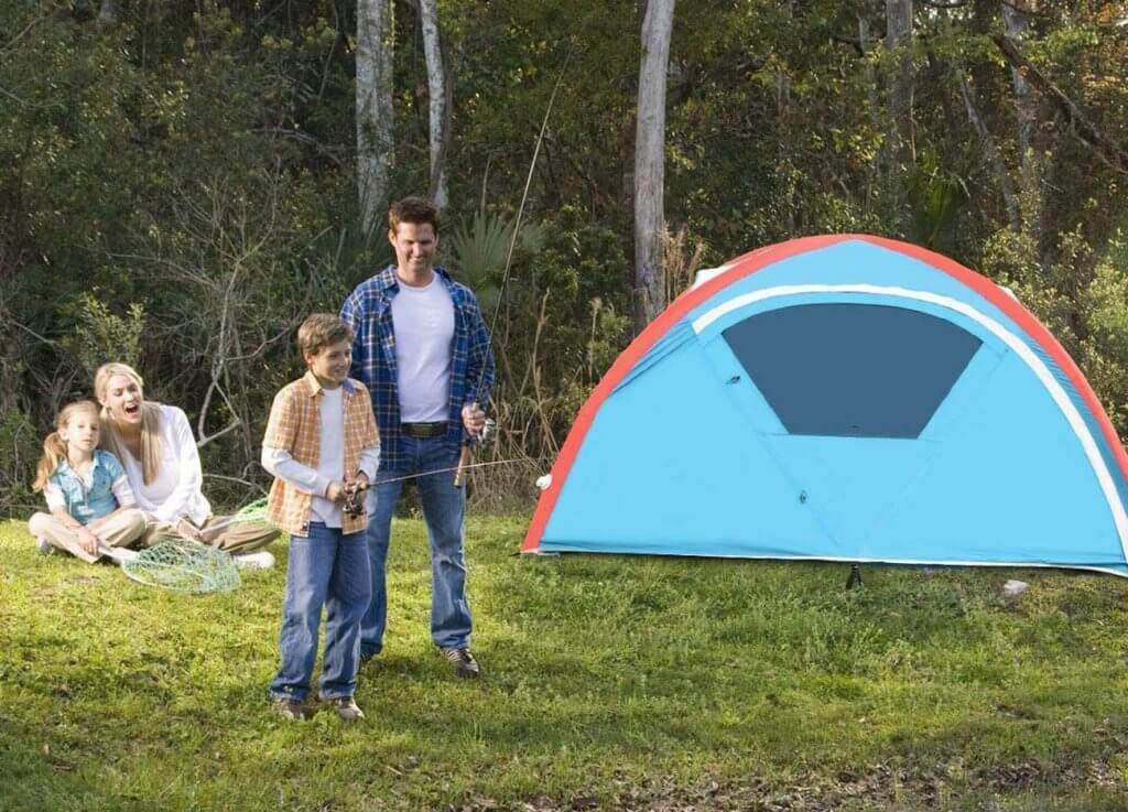 Tangkula Inflatable Instant Camping Tent and a family