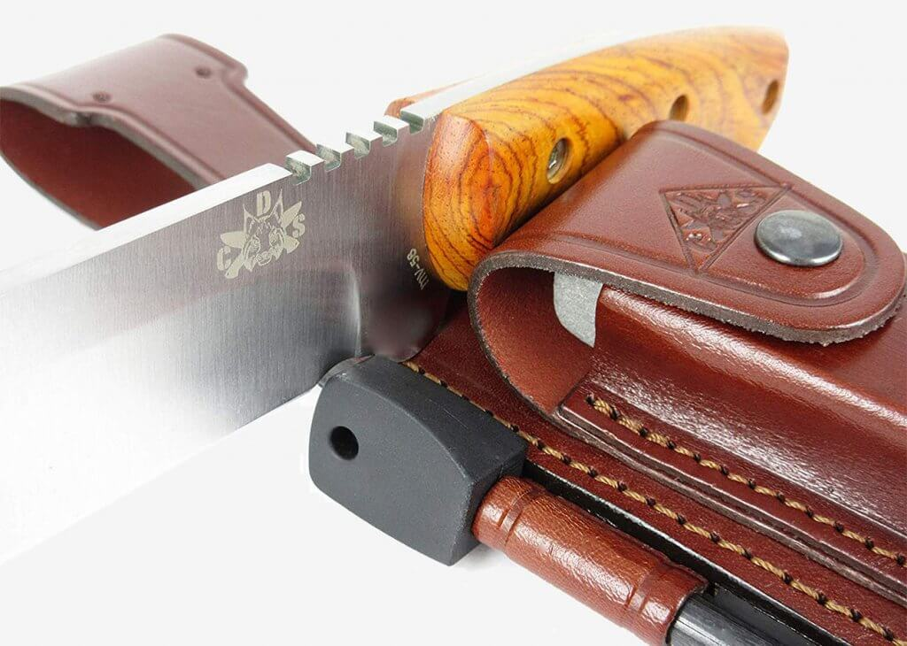 Close-up of the Celtibero Cocobolo Tactical Knife
