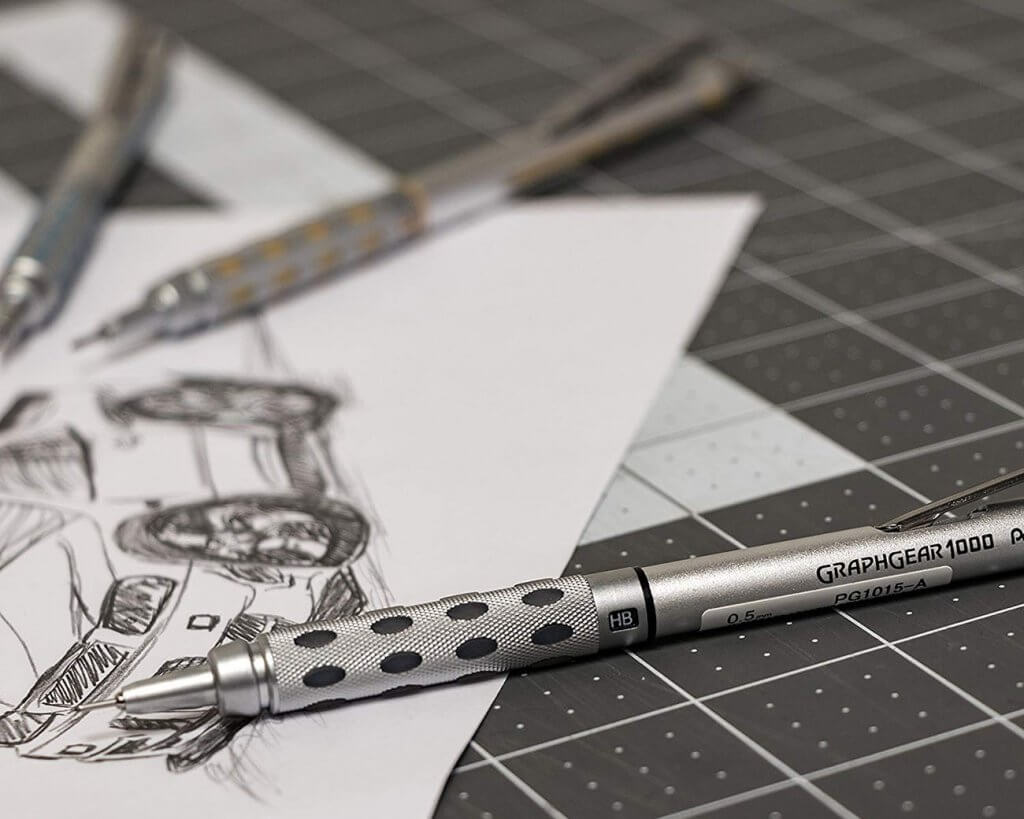 Pentel GraphGear 1000 Mechanical Pencil and a drawing