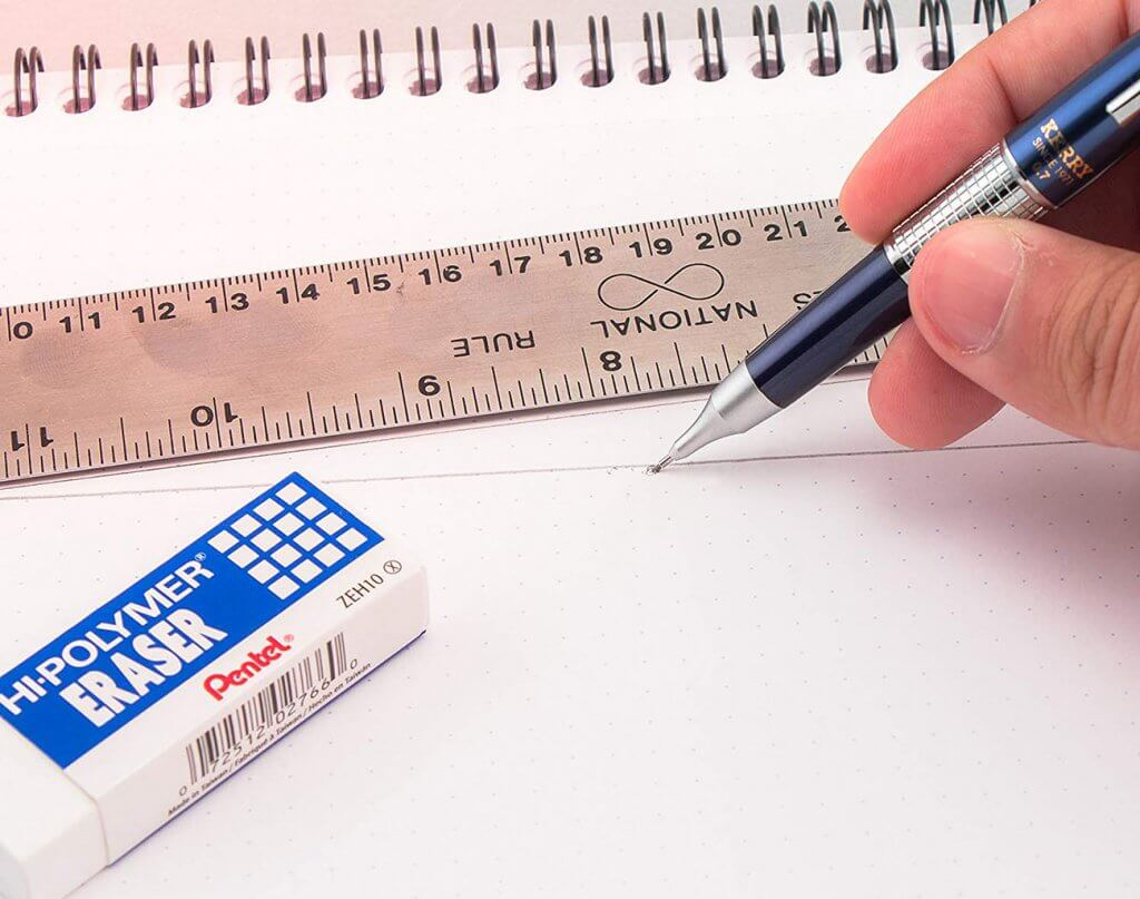 Pentel Sharp Kerry Mechanical Pencil and a ruler