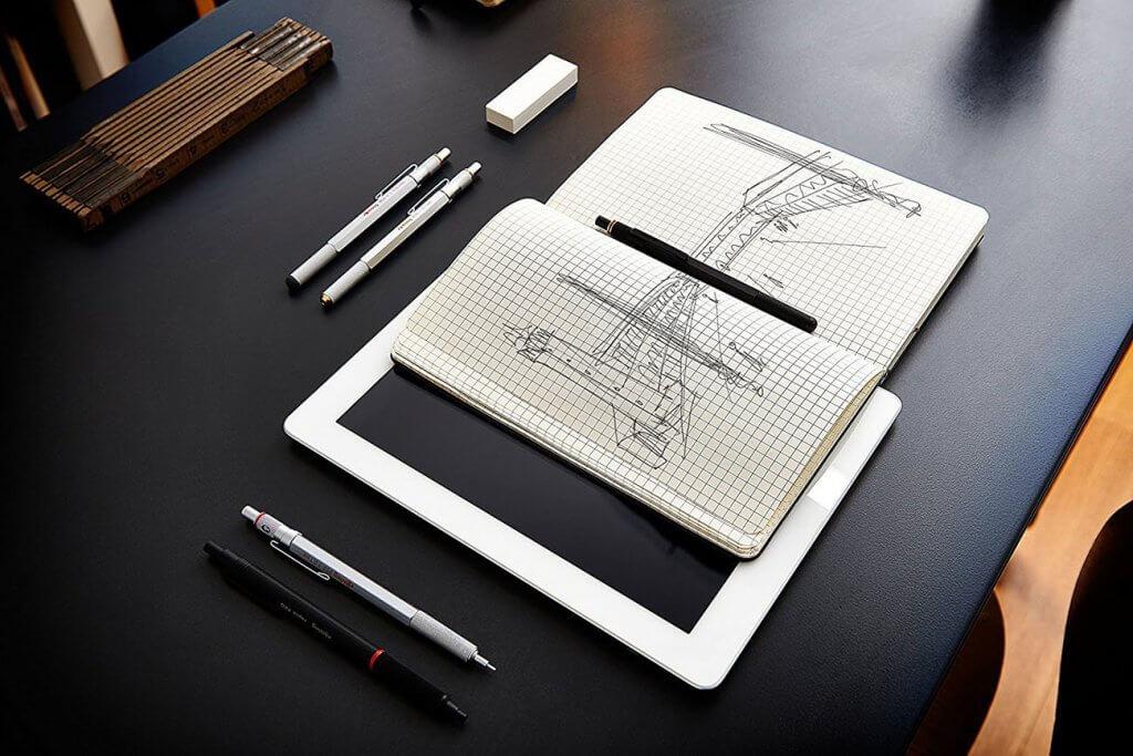 rOtring 600 0.5mm Black Barrel Mechanical Pencil and sketchbook