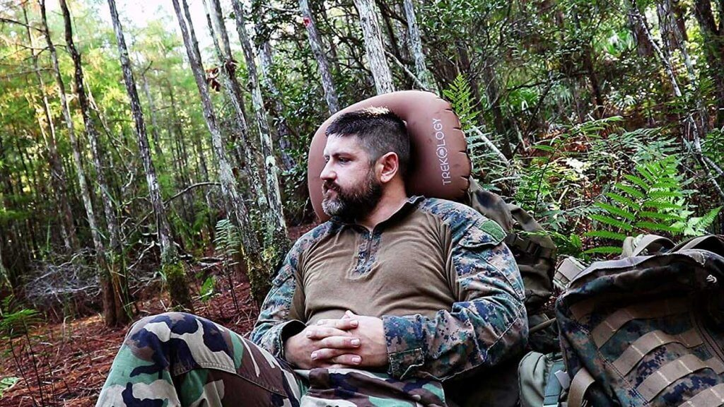 Aluft Ultralight Inflating Travel and Camping Pillow on a hunting trip