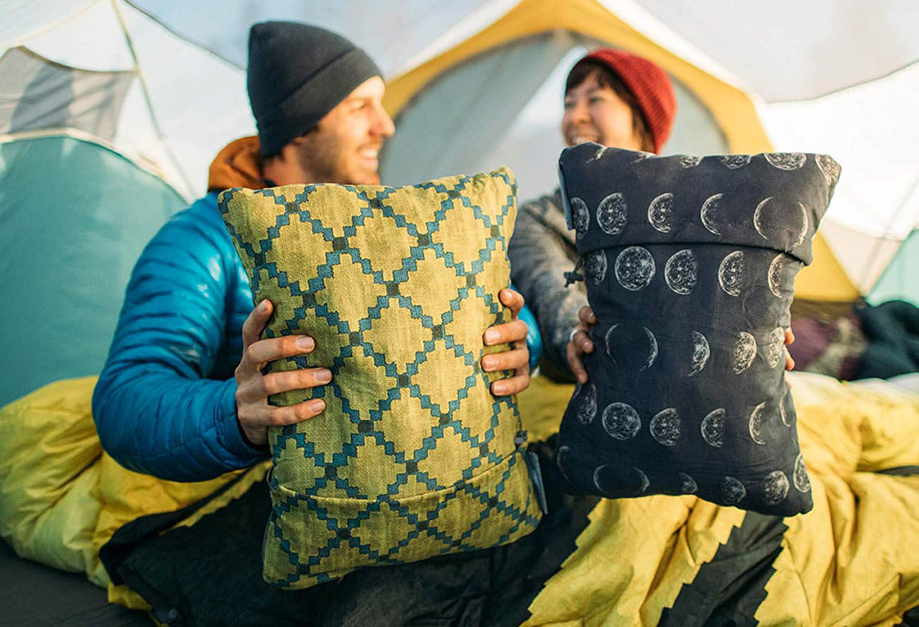 Two camping pillows in a tent
