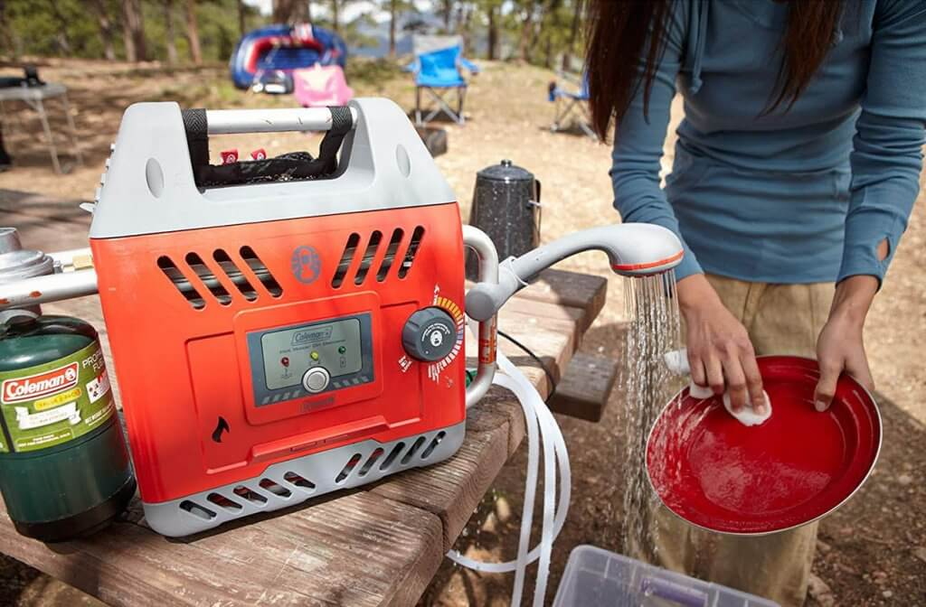 Coleman Hot Water on Demand H2Oasis on a camping trip