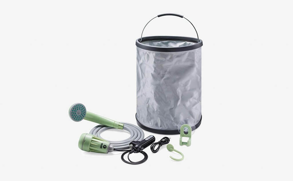 Equipt Streamline Portable Camping Shower with Expandable 4 gallons Bucket