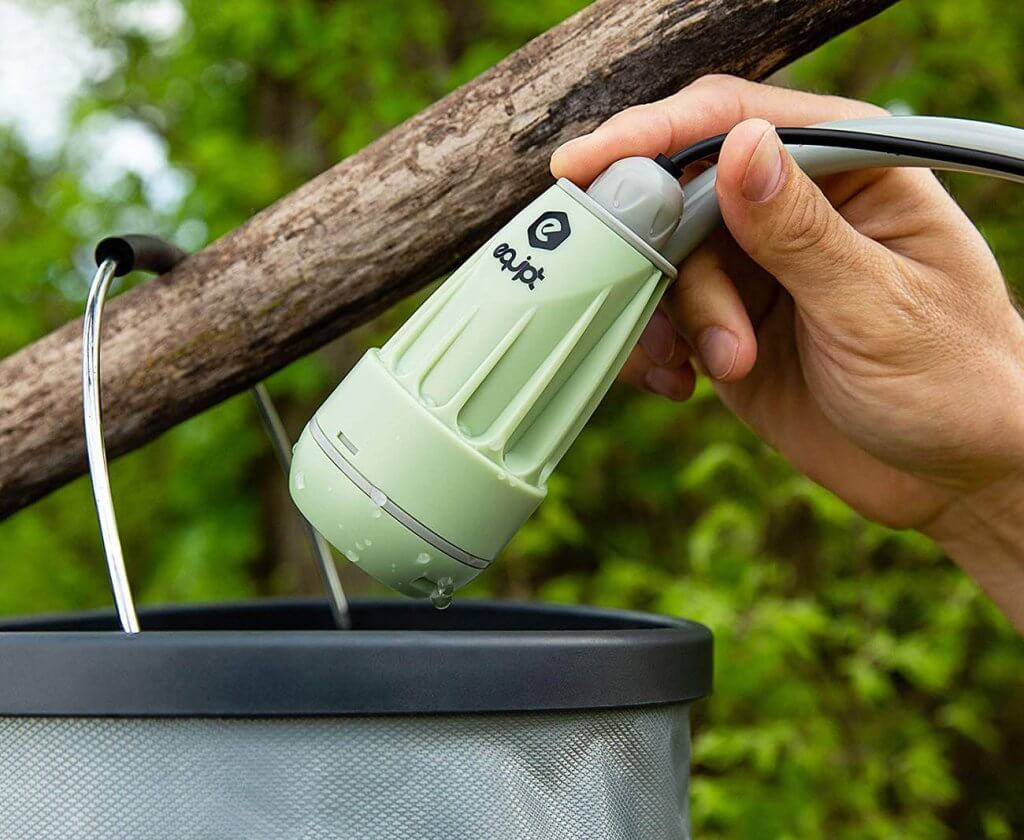 Equipt Streamline Portable Camping Shower on a tree