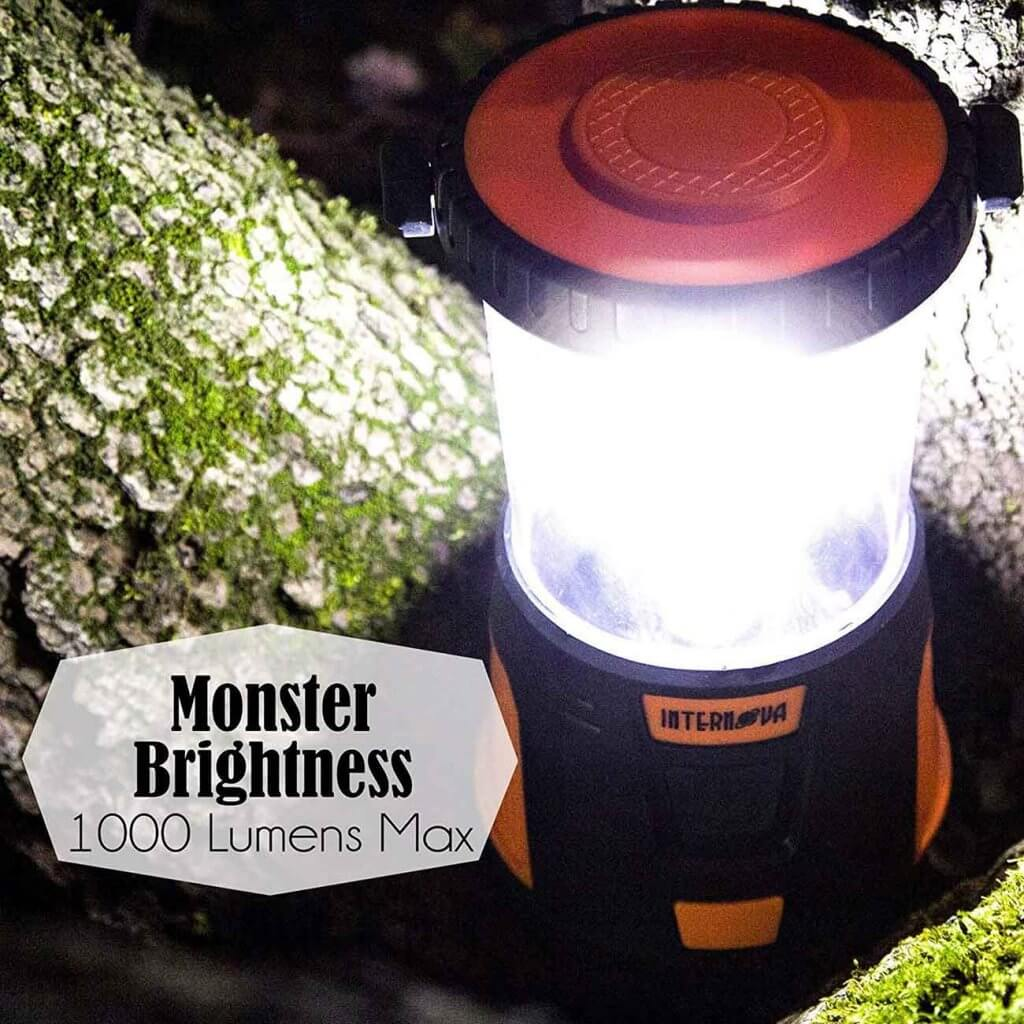 Internova Rechargeable LED Camping Lantern on a tree