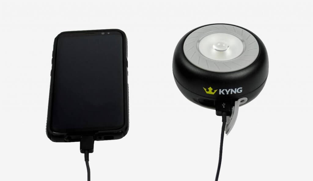 Charging phone with the KYNG Solar Rechargeable LED Lantern