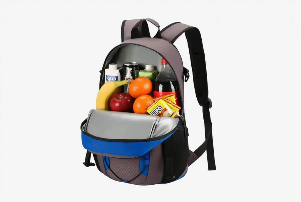 Piscifun Insulated Cooler Backpack packed with food