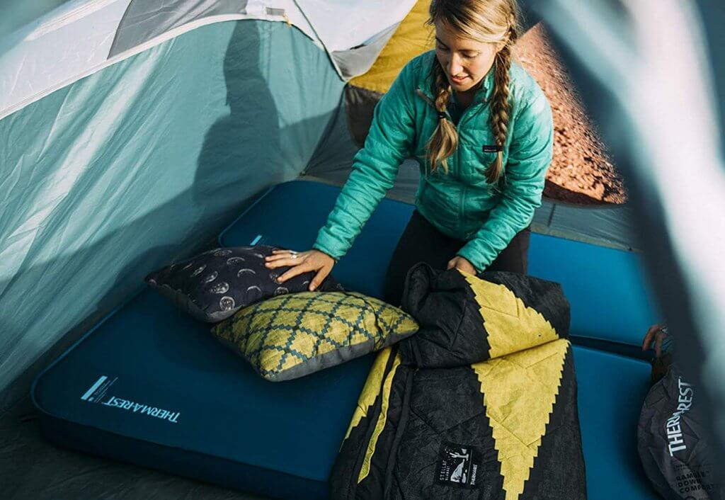 Therm-a-Rest Compressible Travel Pillow in a tent
