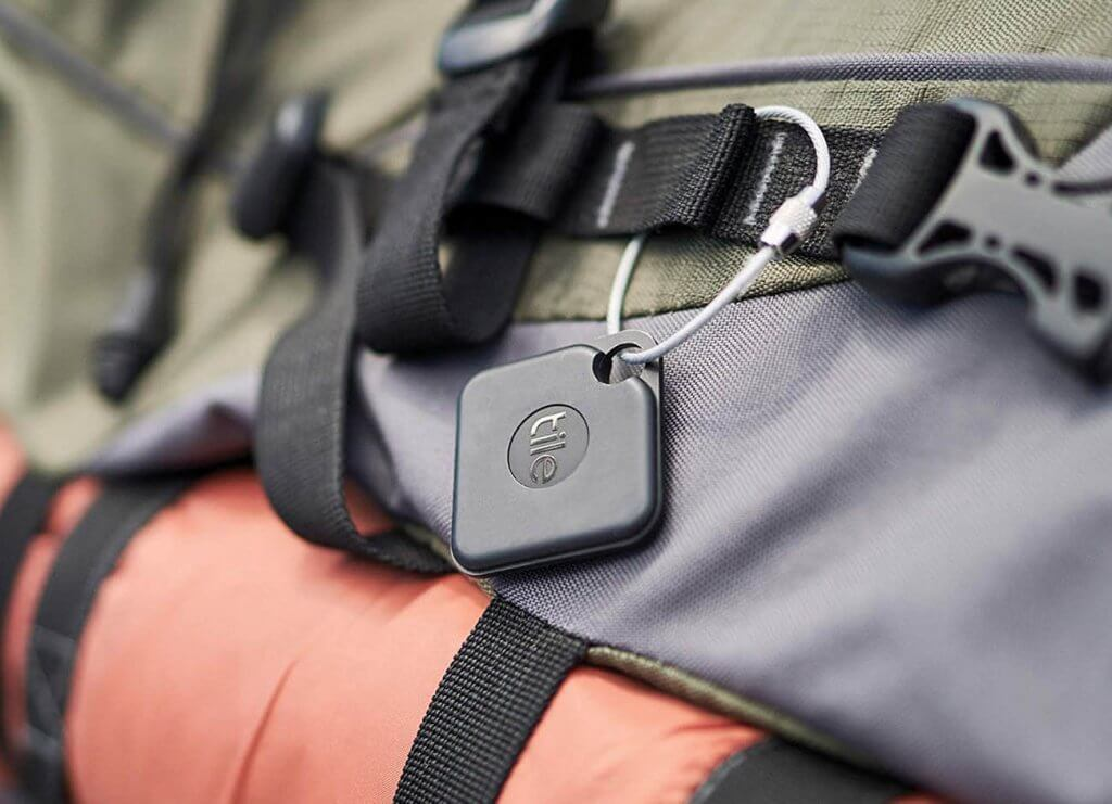 Tile Pro on backpack
