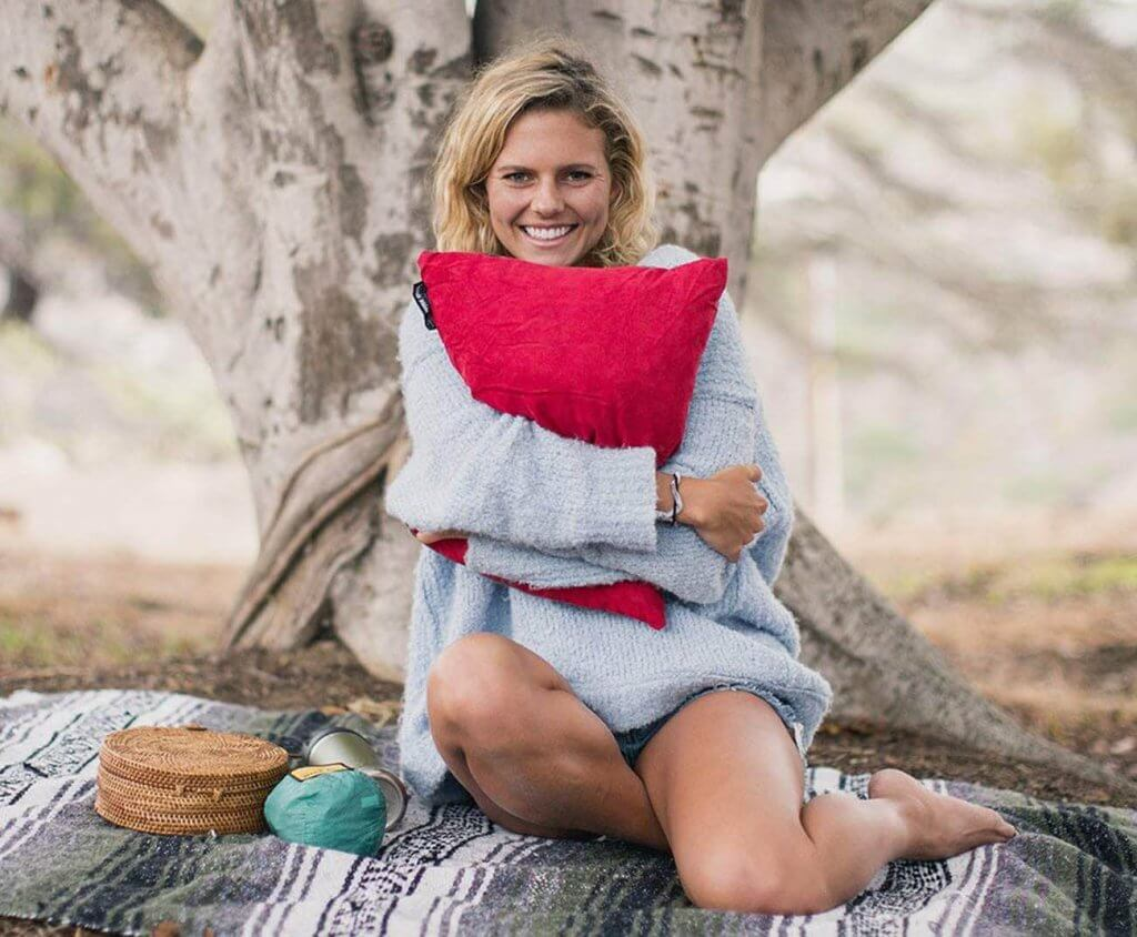 Wise Owl Outfitters Camping Pillow on a picnic