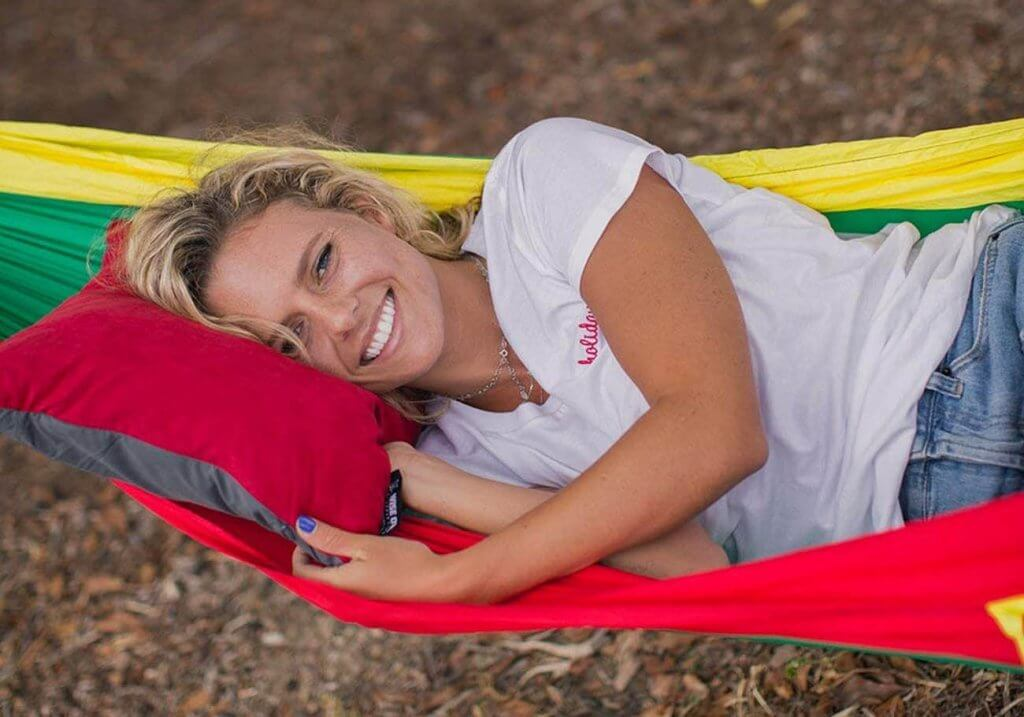 Wise Owl Outfitters Camping Pillow in a hammock