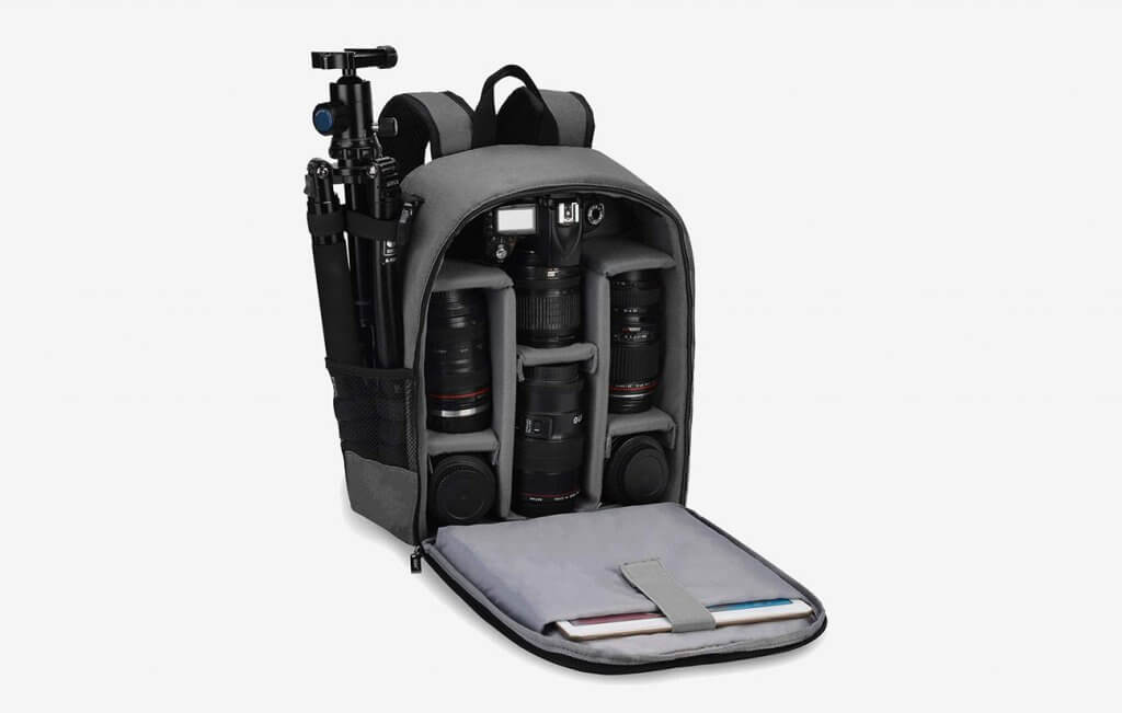 CADeN DS6 Camera Backpack open