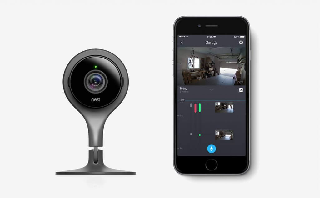 Google, NC1104US Nest Cam Indoor Security Camera and smartphone