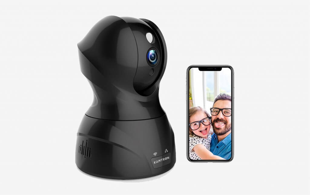 KAMTRON Wireless Indoor Camera With Pan and smartphone