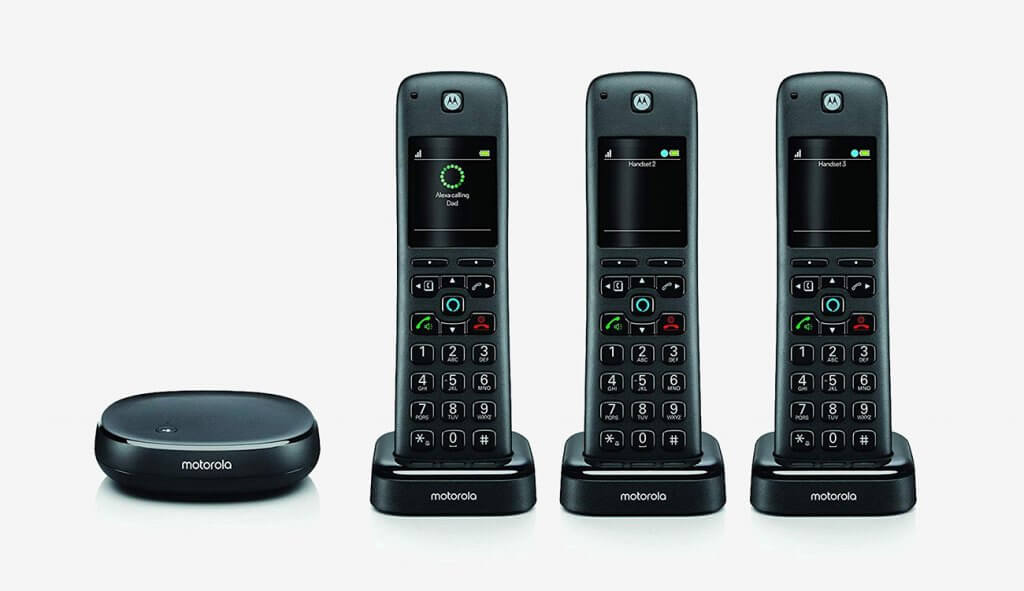 Motorola AXH03 Smart Cordless Phone With Alexa Built-in 3 Cordless Handsets
