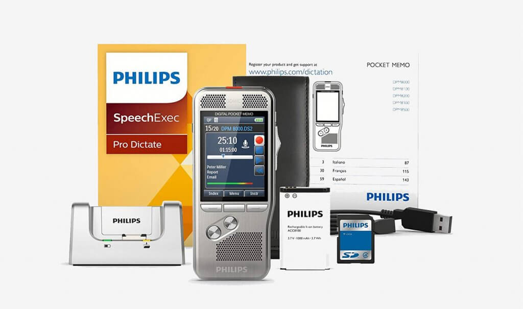 Philips DPM800001 Digital Pocket Memo with Speech Exec Pro Dictation Software