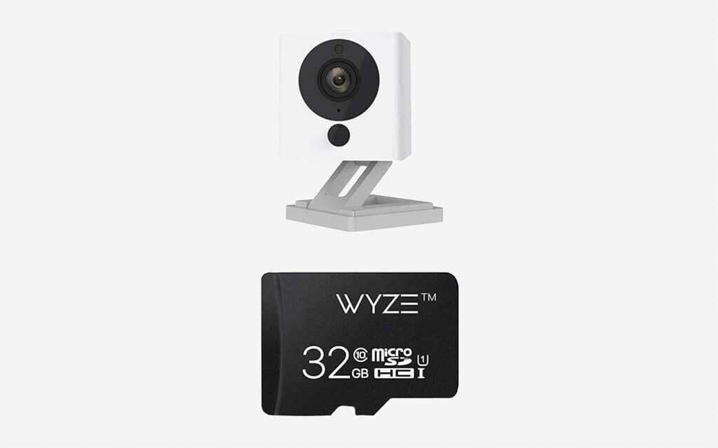 Wyze Cam 1080p HD Indoor Wireless Smart Home Camera and microSD card