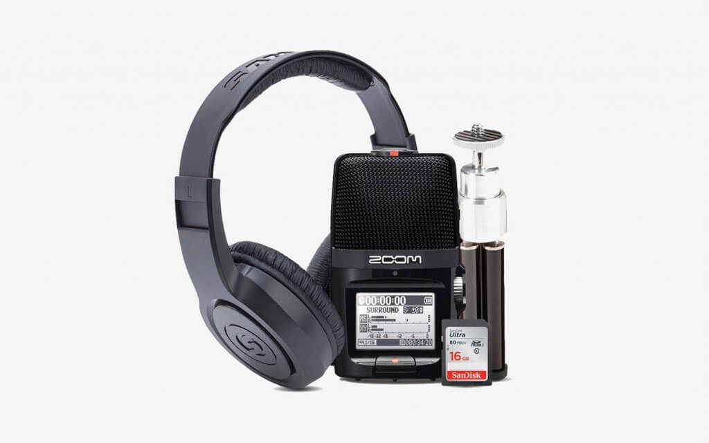 Zoom H2n Handy Recorder With Tripod, Memory Card And Headphones