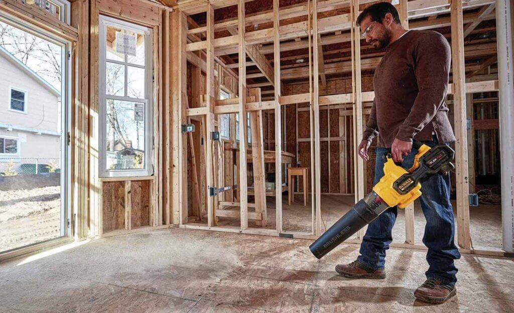 DEWALT DCBL772X1 Blower indoors on construction site