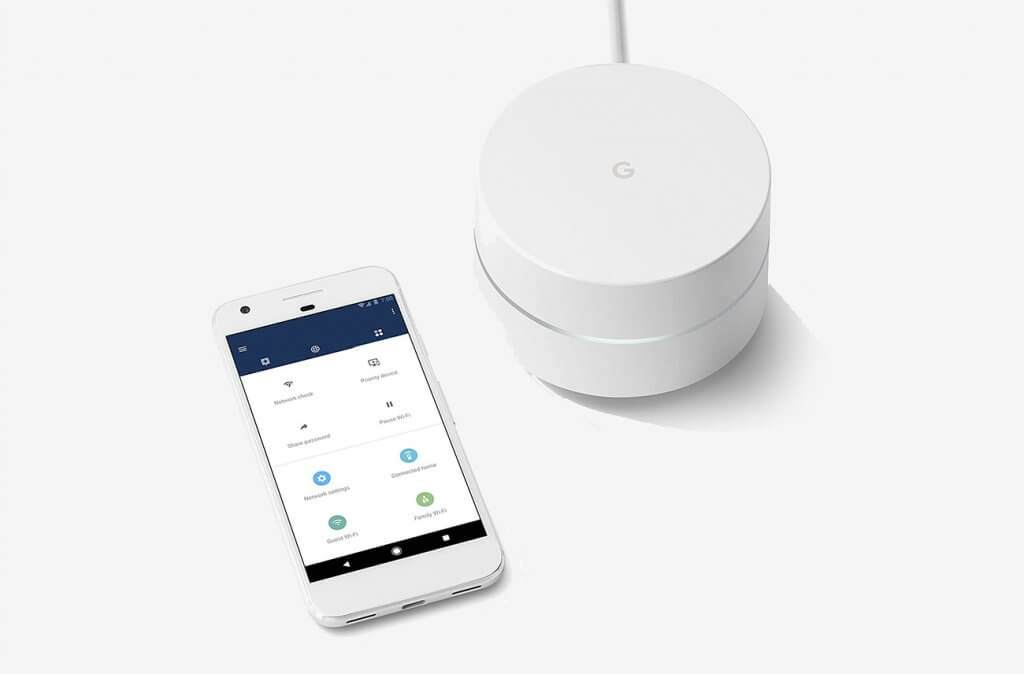 Google WiFi system and smartphone