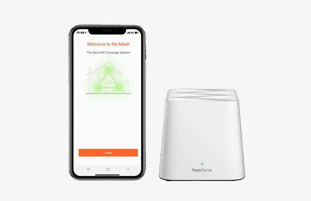 Meshforce M1 Whole Home Mesh Wi-Fi System and smartphone