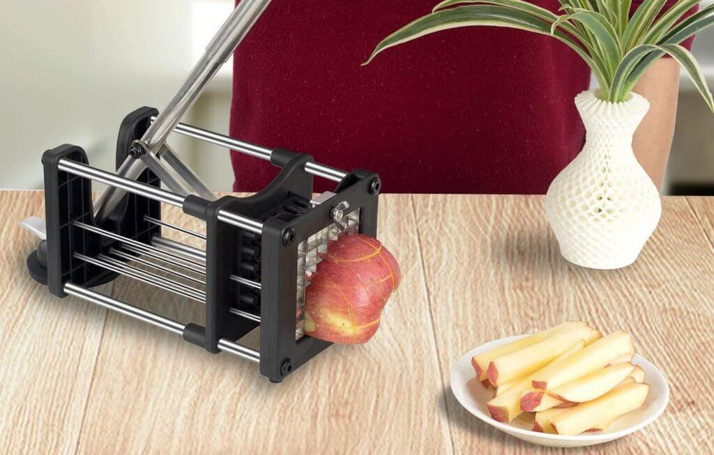 Meshist Commercial Potato Cutter used on an apple
