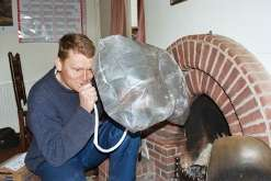 The Inflatable Chimney Pillow blocks cold drafts from coming down the chimney