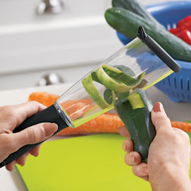 The Veggie Peeler saves the hassle of cleaning up those messy peels.