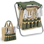 Folding Gardening Chair with Tools