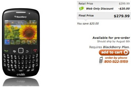 cricket Cricket Communications offer BlackBerry Curve 8530