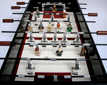 Now how cool is that – a Lego Star Wars Foosball Table which sees all of the