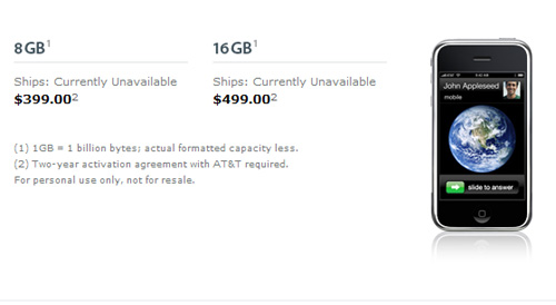iPhone out of stock