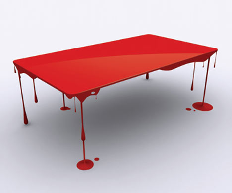 Paint Drip Table » Coolest Gadgets :  table paint red