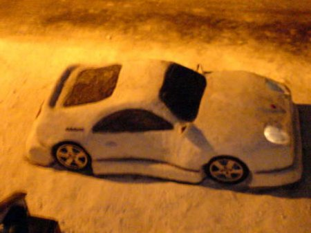 Car snow sculpture