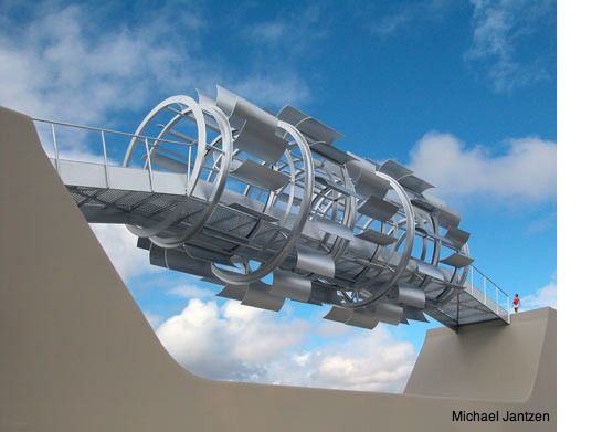 Electricity generating wind tunnel by Michael Jantzen