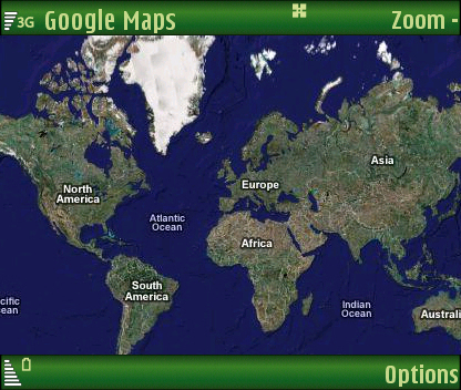 Full zoom out, Google Maps for Symbian